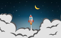 Startup design with rocket launch