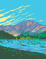 Lake Buttermere Within Lake District National Park Located in Cumbria in Northwest England UK Art Deco WPA Poster Art