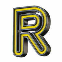 Yellow black outlined font Letter R 3D