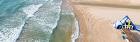 Aerial drone point of view empty beach of Mil Palmeras. Spain