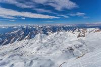 Garmisch Partenkirchen Germany, Zugspitze peak and Alps mountain range with snow in winter season