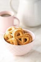 Sweet cookies in the shape of a pretzel