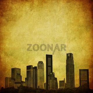 grunge image of singapore skyline