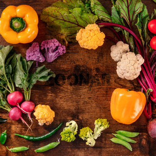 Healthy diet square banner with many fresh vegetables