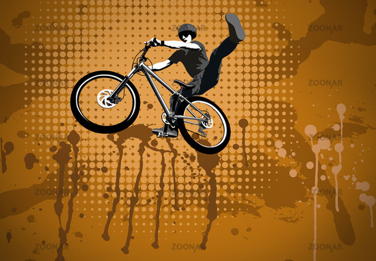 Cyclist jumping