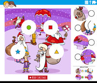 match pieces game for kids with Santa Claus characters
