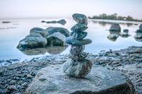 Small manmade cairn on Wreechen beach on Ruegen island
