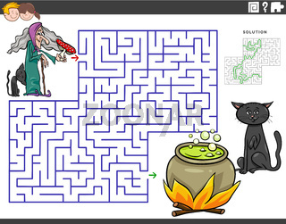 maze educational game with cartoon witch and cauldron