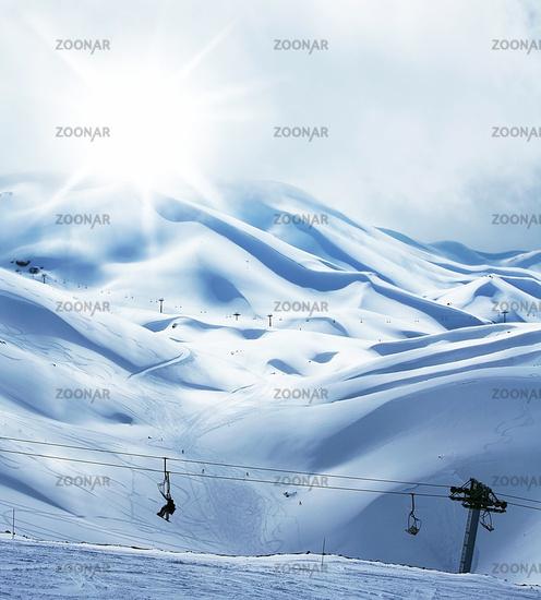 Winter mountain ski resort