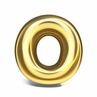 Golden font Letter O 3D
