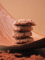 Stacked organic chocolate cookies