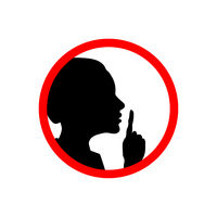 Girl face profile with hand, shhh forbidden icon on white, please keep quiet sign