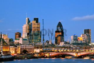London Skyscrapers at Dusk