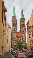 Street and St. Sebaldus Church in Nuremberg