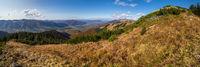 Autumn Carpathian mountain panoramic view. Strymba Mountain, Carpathian, Transcarpathia, Ukraine.
