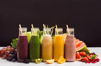 The set of colorful smoothies with exotic fruits