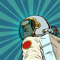 Astronaut man follow me, leads forward into the future