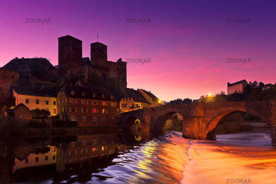 The castle in Runkel (Germany) after sunset