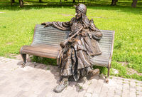 Sculpture of the fairytale character Baba Yaga in the city park