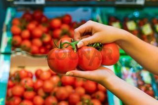 Tomaten im Frischeregal eines Supermarktes