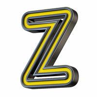 Yellow black outlined font Letter Z 3D