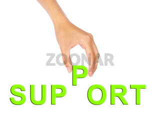 Hand pick up 'P' alphabet from support wording