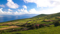 Landscape with agriculture fields at Corvo island, Azores, Portugal
