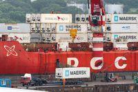 Crane unloaded container cargo ship Sevmorput FSUE Atomflot - Russian nuclear-powered icebreaker lighter aboard ship carrier