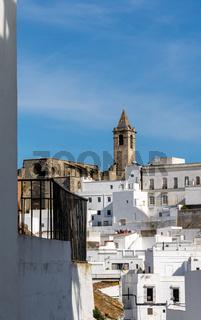 the historic city center and Iglesia Divino Salvador church in Vejer de la Frontera