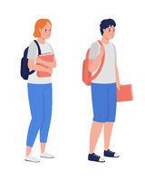 Sad boy and girl semi flat color vector character set