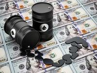 Oil barrels on dollar background. Rising oil prices concept. 3D illustration