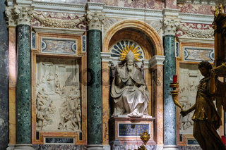 The Column of the Immaculate Conception, is a nineteenth-century monument depicting the Blessed Virgin Mary, located in Piazza Mignanelli and Piazza di Spagna. Rome, Italy.