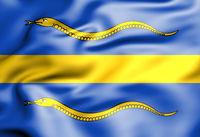 3D Flag of Pijnacker-Nootdorp, South Holland, Netherlands. 3D Illustration.