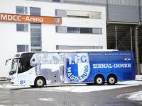 Team bus with club logo 1.FC Magdeburg DFB 3rd league season 2020-21