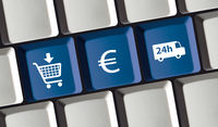 Online shop e-commerce principle on computer keyboard buy, pay, shipping