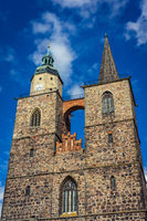 Two towers of the Church of St. Nicholas. Juterbog is a historic town in north-eastern Germany.
