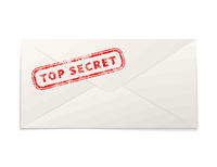 Realistic paper envelope with red top secret stamp on white