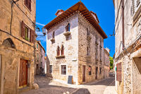 Town of Vodnjan historic stone street and architecture view