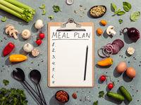 Meal plan concept. Hard light