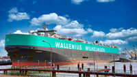 big ship Manon of Wallenius Wilhelmsen at the port of Bremerhaven, Germany