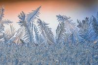 Ice hoarfrost patterns on glass in winter. Sub zero frozen water crystal art.