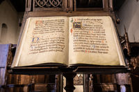 Antique Medieval manuscript with ancient calligraphy.