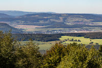Scenic view on landscape from the mountain Dolmar in Thuringia