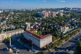 Chisinau, Moldova. Academy of science office building in the center of capital city, drone aerial view