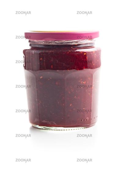 Jar of raspberry jam