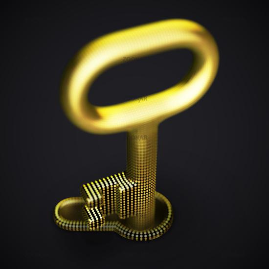 Digital 3D golden key in keyhole on black background.