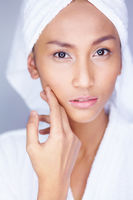 Beautiful woman facial skin care.  See the results.