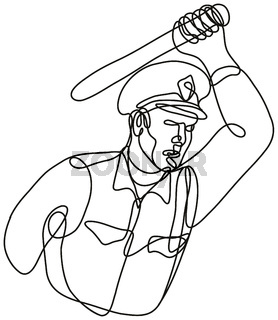 Policeman or Police Officer Striking with Baton or Nightstick Police  Brutality Continuous Line Drawing