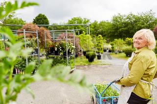 Gärtnerin mit Handkarre beim Transport von Blumen