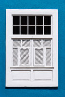 Traditional painted window in canarian colonial style house in the old town of Santa Cruz de La Palma
